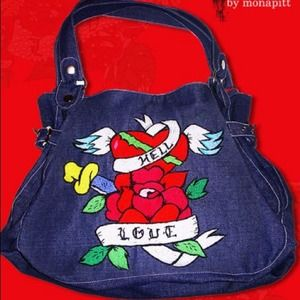 Denim Embroidered Purse Tote one in a kind!