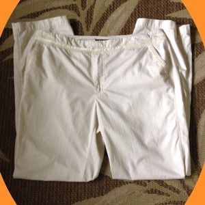 Venezia Pants - Pristine cream colored pants with ribbon detail.