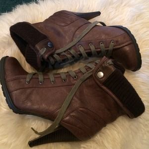 mandee Boots - Brown Lace Up Booties