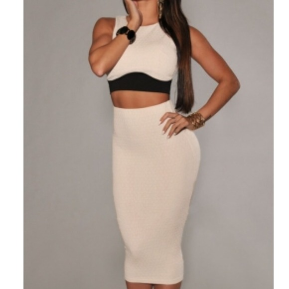 Cream and black crop top pencil midi skirt Medium and large from ...