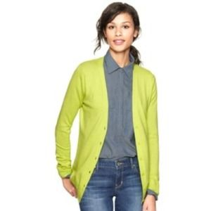 GAP Luxlight cardigan in neon green/yellow.  XS