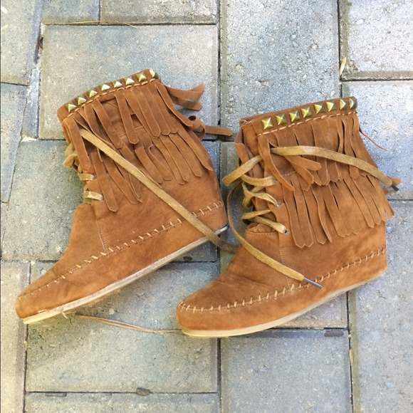 ebb4c1267a9 bamboo Boots - Hidden wedge moccasin boots