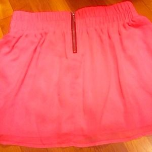 High waisted pink neon skater skirt