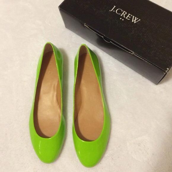 J Crew Janie Janey Flats Lime Green