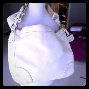 prada silver purse - White Prada shoulder bag on Poshmark