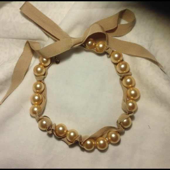 75 off j crew jewelry j crew champagne pearl ribbon for Ribbon tie necklace jewelry