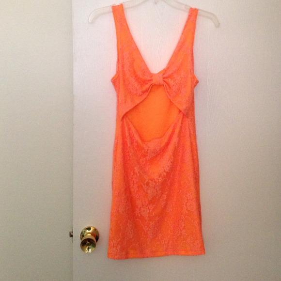 Dresses - Orange lace dress