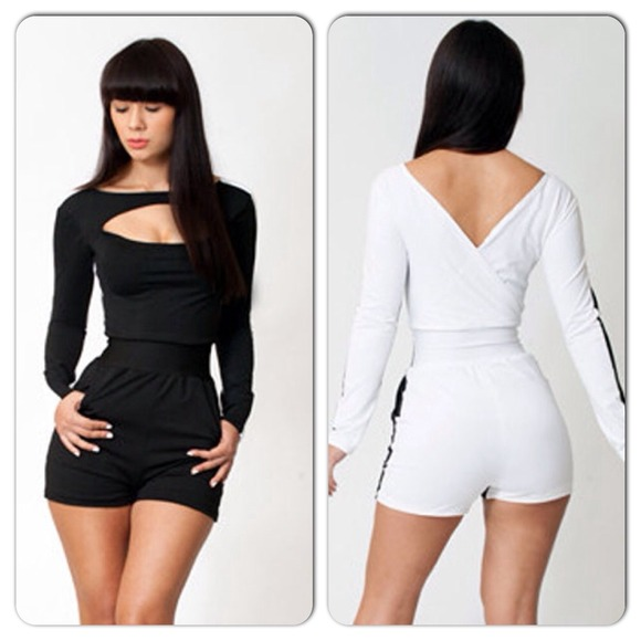 4a7b797c2dae Sexy Black White Long Sleeve Romper Jumpsuit