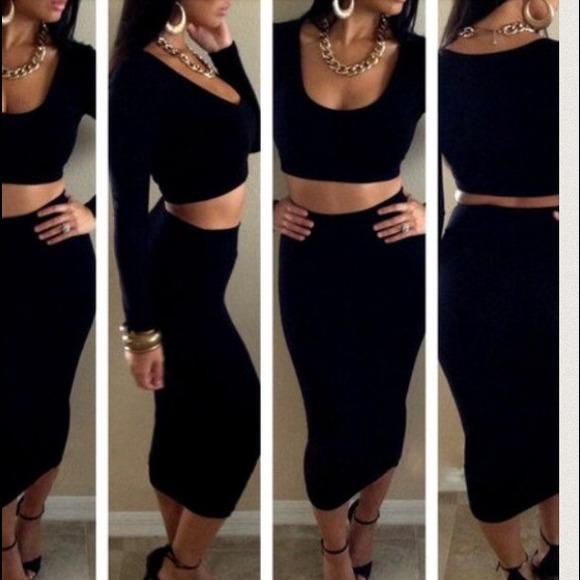 45% off Dresses & Skirts - Sexy Black High Waist Pencil Skirt Set ...