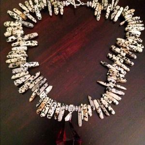 Jewelry - Jasper sticks necklace w/ acrylic pendant