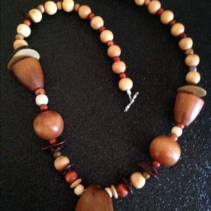 Jewelry - Solid wood and multi-gemstone toggle necklace