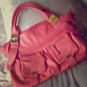 JustFab Handbags - Coral w/ gold accents large bag.
