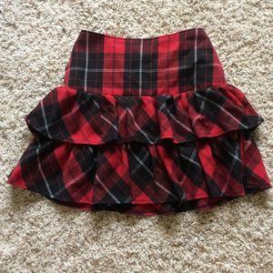 Double ruffle elastic waisted skirt