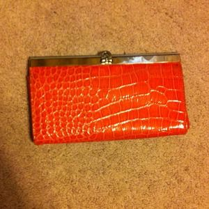 """Clutches & Wallets - Coral """"faux gator skin"""" wallet"""