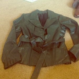 Vintage forest green leather jacket