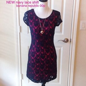 BRAND NEW navy all lace dress. Banana Republic 00p