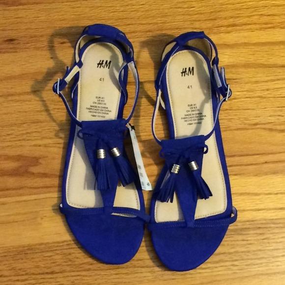 Blue Fringe Sandals H&m