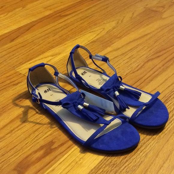 Blue Fringe Sandals H&m Shoes