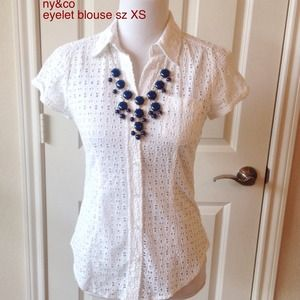 NY&Co Tops - white full eyelet blouse sz XS. New York & Co.