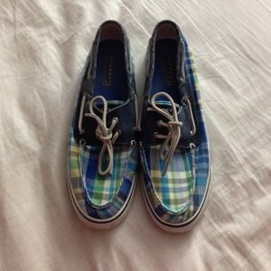 "green and blue plaid distressed ""Bahamas Sperry"""