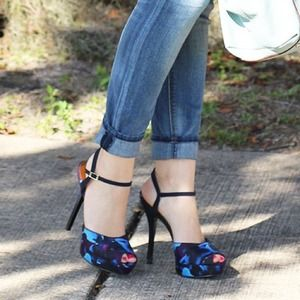 Nine West Shoes - Nine West Floral Peep Toe Ankle Strap Heels