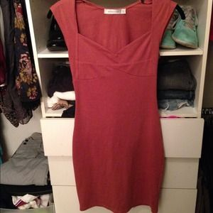 Mink pink burnt orange bodycon dress