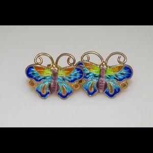 Jewelry - Butterfly Cloisonné Enamel Earrings