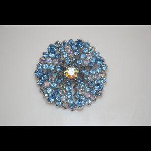 Jewelry - Rhinestone Blue Round Brooch Pin