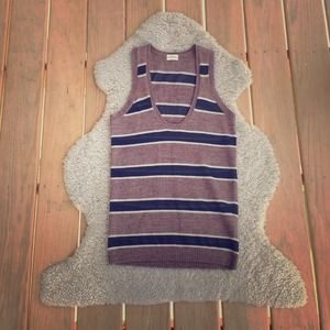 brown wool and black striped tank