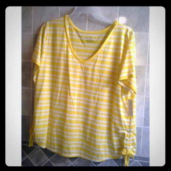 8c267413e0ac9 Yellow and white striped shirt. 3x