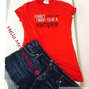 Tops - Red TShirt Forget Princess I Rather Be A Vampire