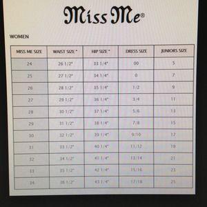 Miss me jeans true religion size chart poshmark