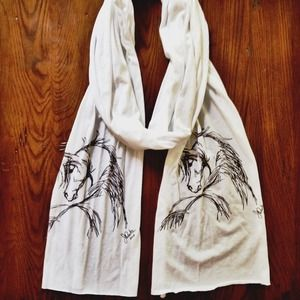 Accessories - 🔴Sold🔴White Horse Print Scarf