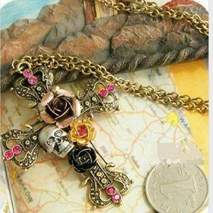 Trendy Cross Skull Long Necklace