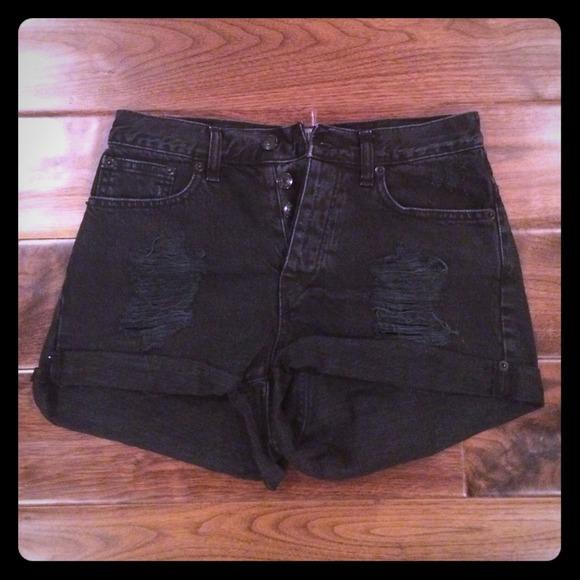 50% off Brandy Melville Denim - Black ripped high waisted shorts ...