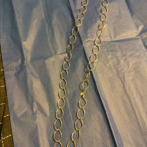 Long silver tone link necklace