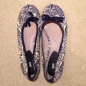 Navy and white flats