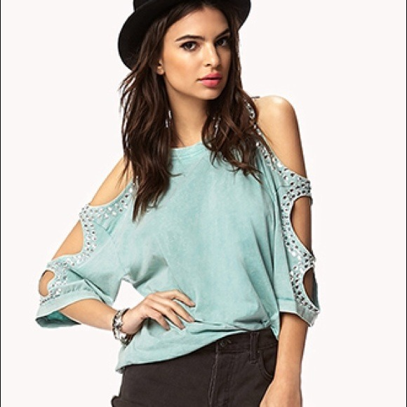 0f44845662dd7 ✨SALE✨ Mint bejeweled Forever 21 open shoulder top