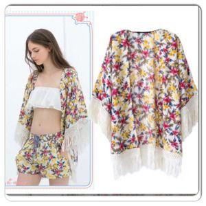 Jackets & Blazers - ❗️NEW ITEM❗️Floral Fringed Kimono