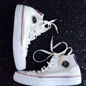 PF FLYERS SZ 7.5 WOMENS All WHITE SNEAKERS SHOES