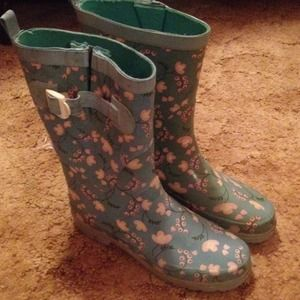 Urban Outfitters Floral Teal Rain Boots
