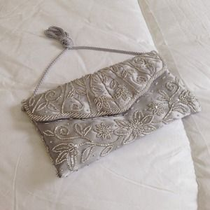 Silver Beaded Purse