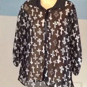 Bongo black Cross sheer top