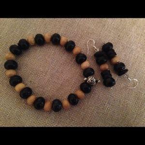 """Jewelry - Onyx & Sea Coral stretch bracelet set 7"""""""