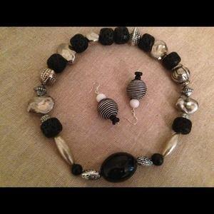 Jewelry - Lava rock necklace/ bracelet and earrings