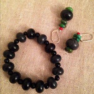 """Jewelry - Onyx / Turquoise / wood bracelet set 7"""""""