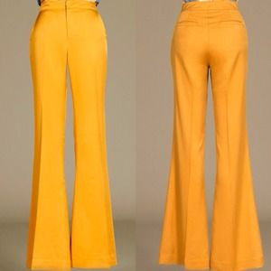 Pants - SMALL- Vintage inspired Mustard wide leg Trousers