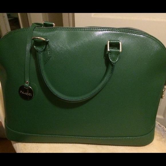 67% off pulicati Handbags - Pulicati Leather Green Satchel from ...