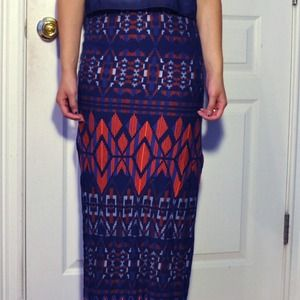 aztec print bodycon maxi skirt