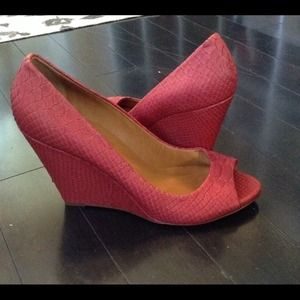 NEW Madewell Red Leather Snakeskin Peep Toe Wedges